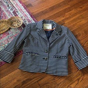 Anthropologie cartonnier Blue white striped blazer